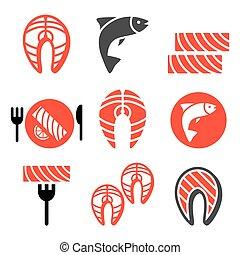 icônes, nourriture, saumon, fish, -, repas