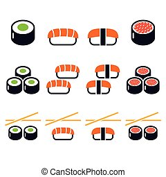 icônes, nourriture, sushi, -, japonaise, vecteur
