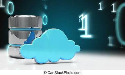 icônes, nuage, code sécurité, binaire