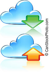icônes, nuage, hosting