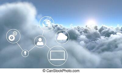icônes, nuages, appareil, connecté, contre