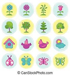 icônes, objet, saison, printemps