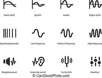 icônes, ondes sonores, arrière-plan., blanc