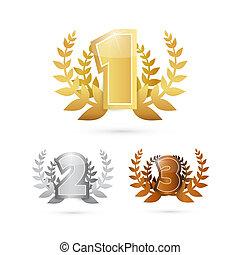 icônes, or, troisième, argent, premier, -, endroit, ensemble, vecteur, bronze, seconde