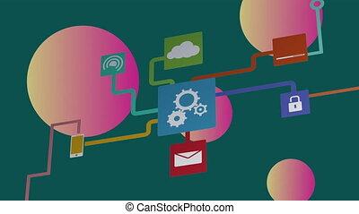 icônes ordinateur, données, numérique, traitement, réseau, connexions, dents, animation