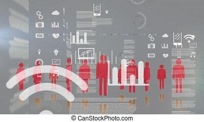 icônes ordinateur, informatique, interface, statistiques, ...