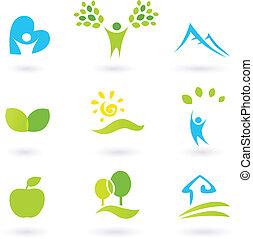 icônes, ou, éléments, feuilles, gens, ensemble, life., paysage, living., graphique, organique, inspiré, vecteur, nature, illustration., collines