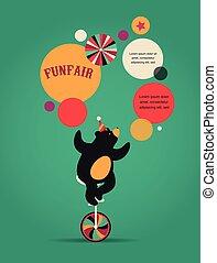 icônes, ours, fond, foire, amusement, cirque, vecteur, vendange, affiche