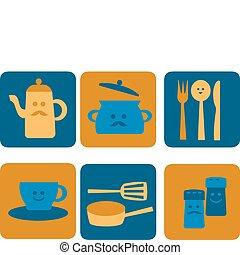 icônes, outillage, cuisine, friture, faces, sourire, cuisine