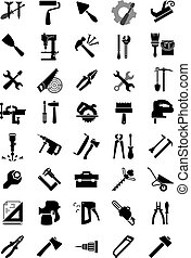 icônes, outillage, noir, manuel, électrique