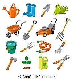 icônes, outils jardin