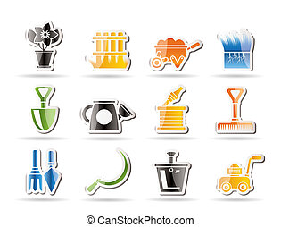 icônes, outils, jardinage, jardin