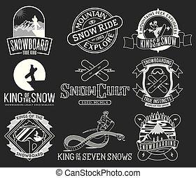icônes, paquet, 2, bw, snowboarding, insignes