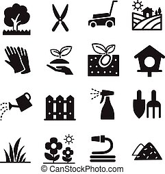 icônes, pelouse, silhouette