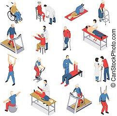 icônes, physiothérapie, ensemble, isométrique, rééducation