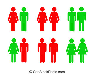 icônes, pictograms, interdit, femme, mâle, permis
