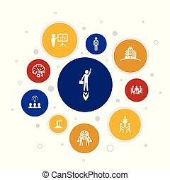 icônes, pixel, bâtiment, 10, association, équipe, entrepreneurship, infographic, investisseur, étapes, design., direction