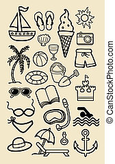 icônes, plage, dessin, main