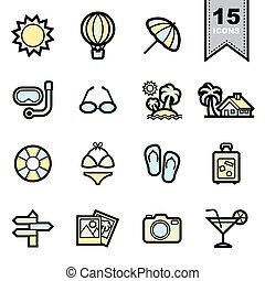 icônes, plage, ensemble
