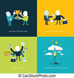 icônes, plat, business, conception