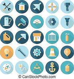 icônes, plat, dessin industriel