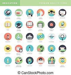 icônes, plat, education, conception