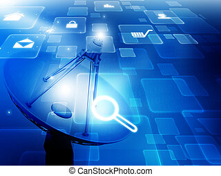 icônes, plat satellite, internet