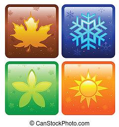icônes, pour, quatre saisons