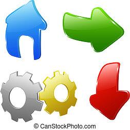 icônes, pour, site web