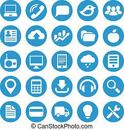 icônes, pour, site web, dans, bleu, circle.