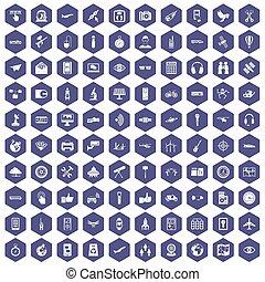 icônes, pourpre, sans fil, 100, hexagone, technologie
