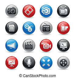 icônes, pro, multimédia, /, gel