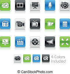 icônes, propre, multimédia, /