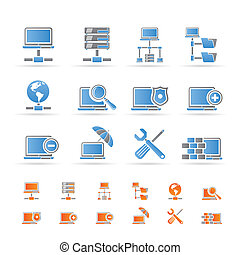 icônes, réseau, hosting, serveur