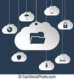 icônes, réseau, nuage, pendre
