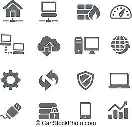 icônes, -, réseau, utilité