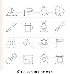 icônes, randonnée, tourisme