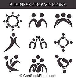 icônes, relationship., business, foule, illustration, ...