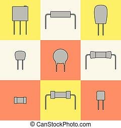 icônes, resistors., ensemble, vecteur, électronique, composants