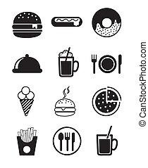 icônes, restauration rapide