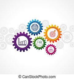 icônes, roue, business, dent