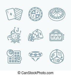 icônes, série, ||, casino, technologie, jeux