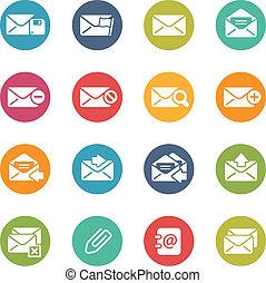 icônes, --, série, e-mail, couleurs, frais
