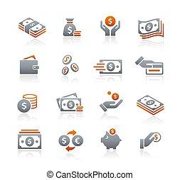 icônes, //, série, graphite, argent