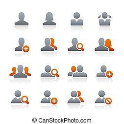 icônes, //, série, graphite, avatar
