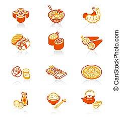 icônes, série, japonaise, juteux, sushi-bar, |