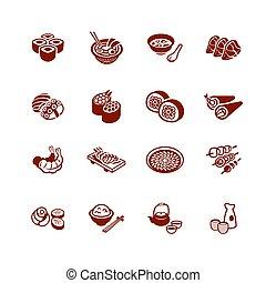 icônes, série, japonaise, micro, sushi-bar, |