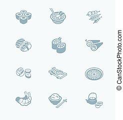 icônes, série, japonaise, technologie, sushi-bar, |