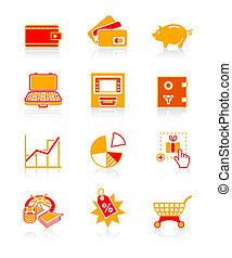 icônes, série, juteux, compter, argent, |