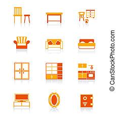 icônes, série, juteux, maison,  , meubles